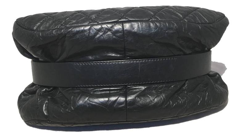 Chanel Black Quilted Distressed Leather Classic Flap Shoulder Bag 3