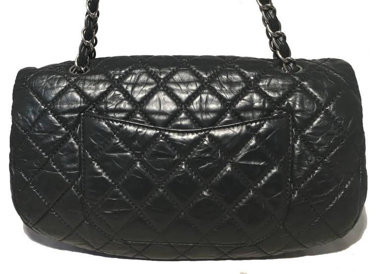 Chanel Black Quilted Distressed Leather Classic Flap Shoulder Bag 2