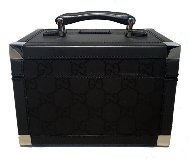 Gucci Black Monogram Canvas and Leather Train Case Cosmetic Travel ...