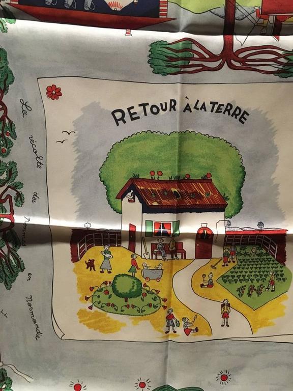 Hermes vintage Retour a la Terre Silk Scarf  For Sale 1