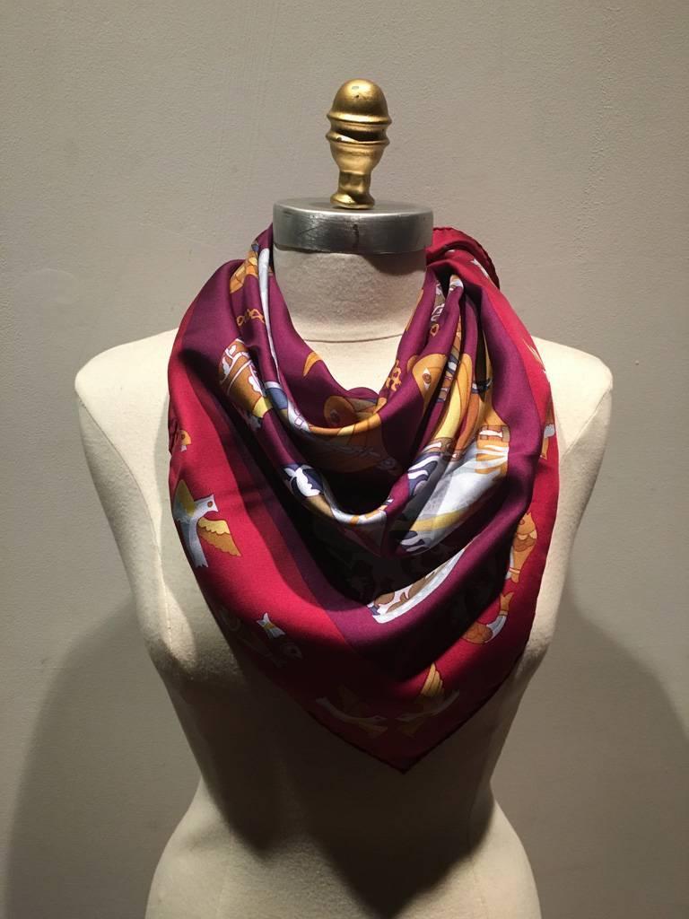 hermes vintage rhytons silk scarf in burgundy for sale at