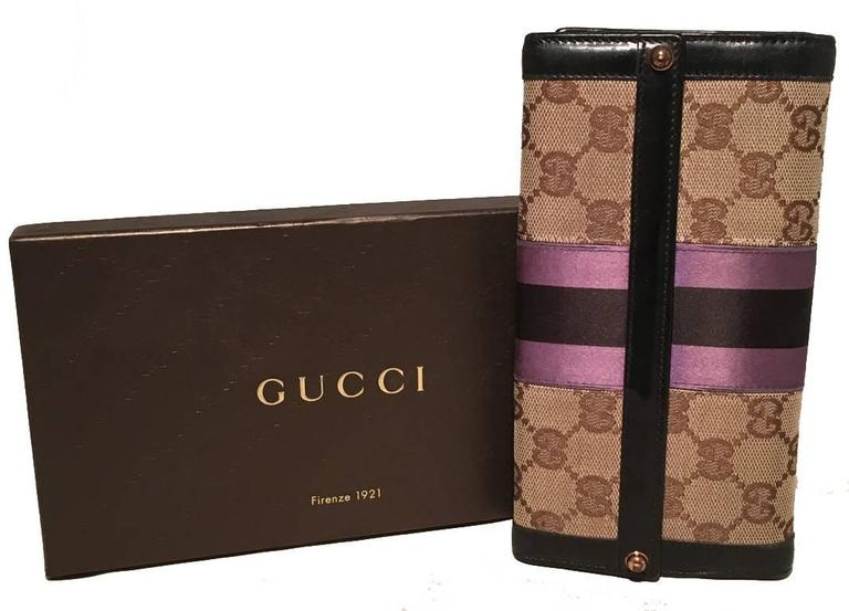 Gucci Monogram Black and Purple Leather and Satin Wallet  2