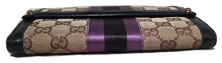 Gucci Monogram Black and Purple Leather and Satin Wallet  4