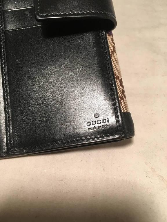 Gucci Monogram Black and Purple Leather and Satin Wallet  7