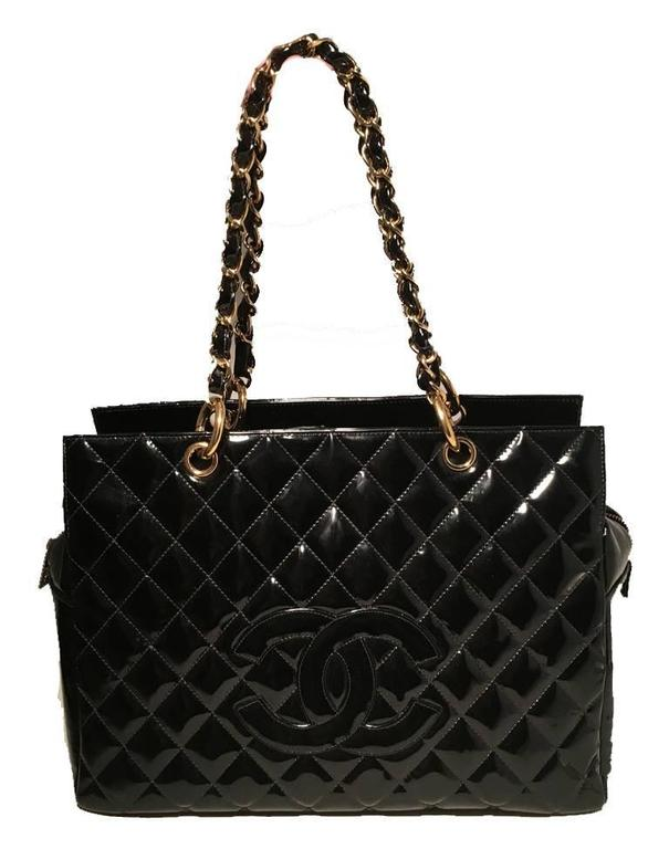 Chanel Black Quilted Patent Leather Shopper Tote Shoulder Bag 5