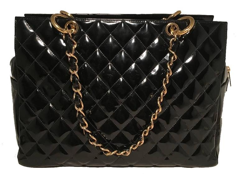 Chanel Black Quilted Patent Leather Shopper Tote Shoulder Bag 3