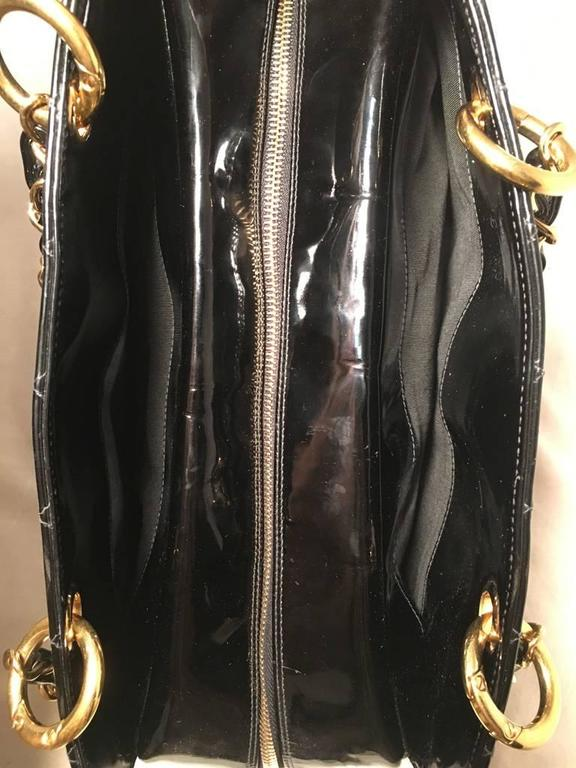 Chanel Black Quilted Patent Leather Shopper Tote Shoulder Bag 4