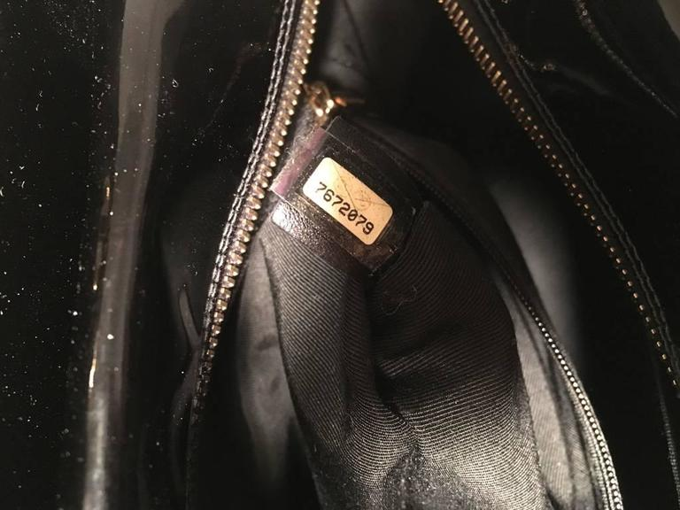 Chanel Black Quilted Patent Leather Shopper Tote Shoulder Bag 9