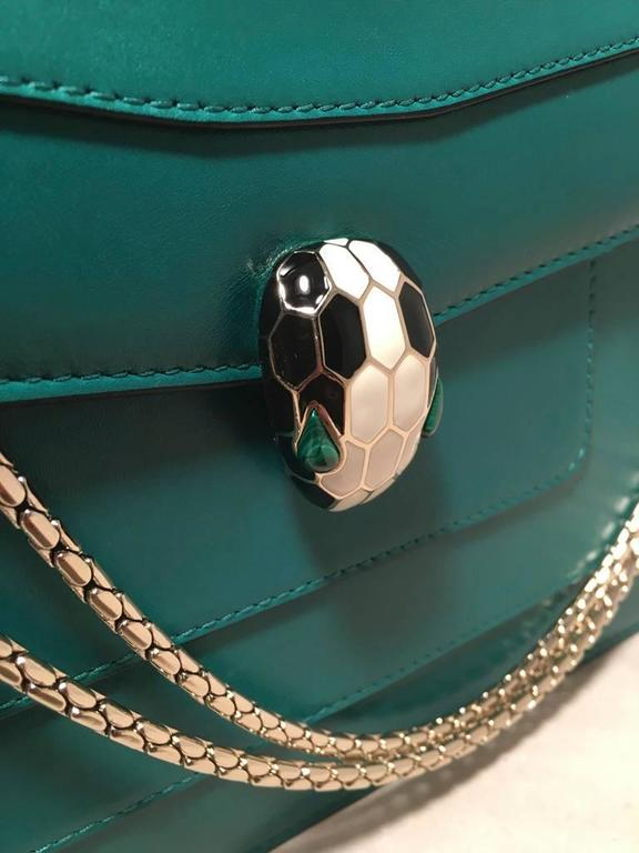 Bulgari Jade Green Leather Jeweled Snake Head Clasp Shoulder Bag For Sale 1