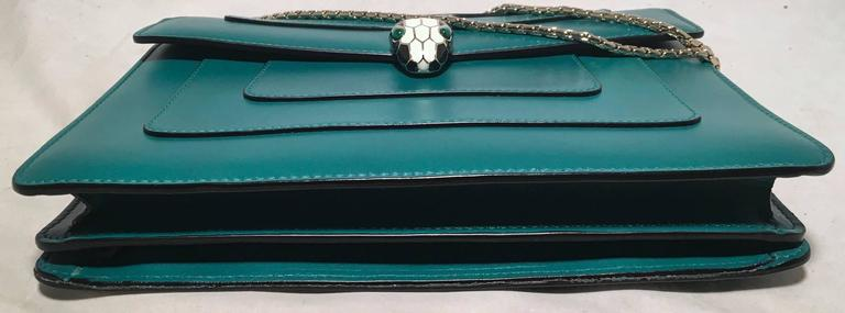 Bulgari Jade Green Leather Jeweled Snake Head Clasp Shoulder Bag 4