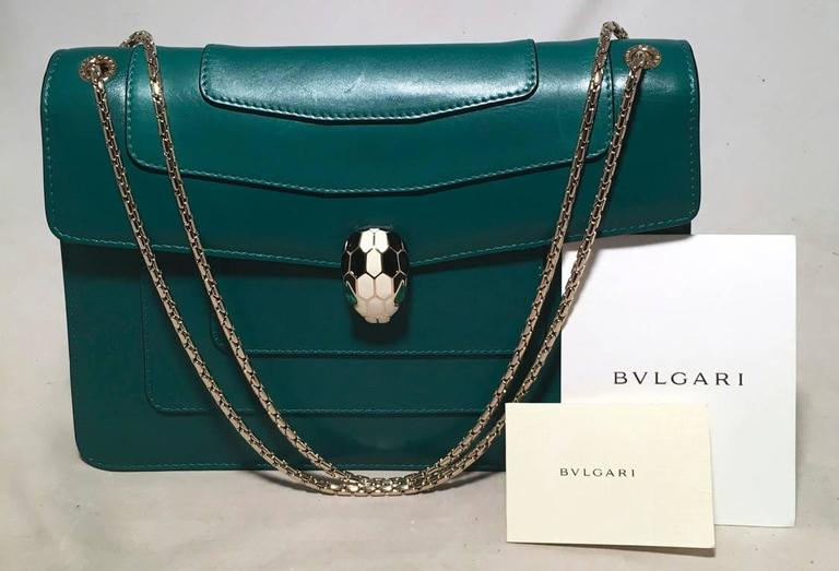 Bulgari Jade Green Leather Jeweled Snake Head Clasp Shoulder Bag For Sale 6