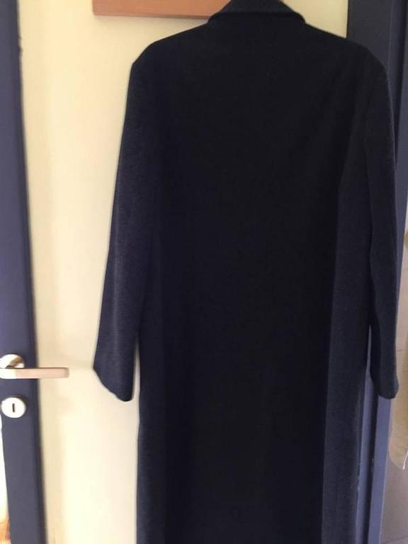 Black Loro Piana Dark Grey Wool Longline Coat For Sale