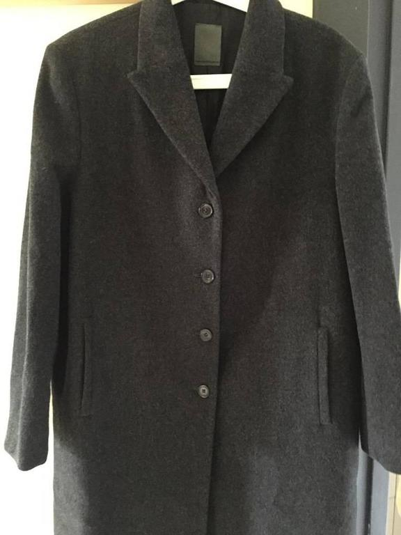 Loro Piana Dark Grey Wool Longline Coat In Excellent Condition For Sale In Philadelphia, PA