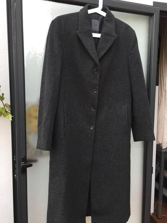 Loro Piana Dark Grey Wool Longline Coat For Sale 1