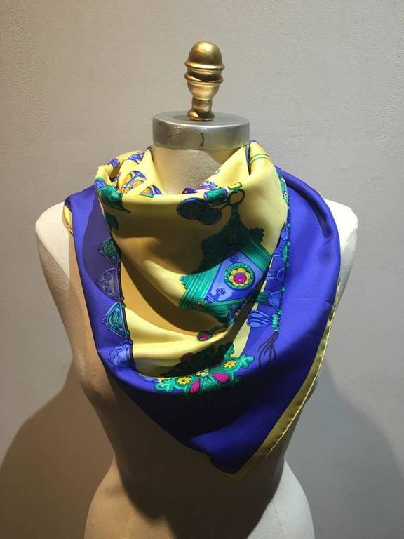 Hermes Vintage Parures des Sables Silk Scarf in Blue and Yellow 2