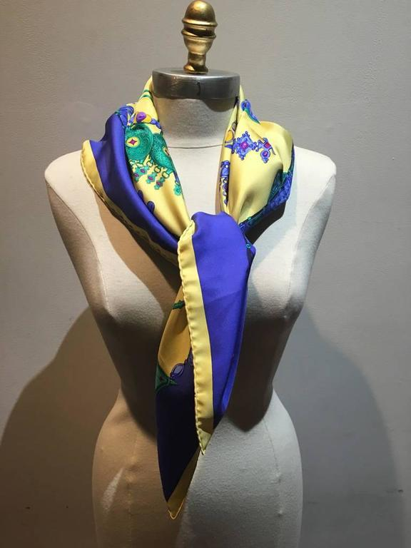 Hermes Vintage Parures des Sables Silk Scarf in Blue and Yellow 3