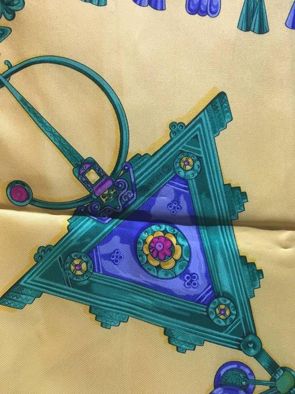 Hermes Vintage Parures des Sables Silk Scarf in Blue and Yellow 4