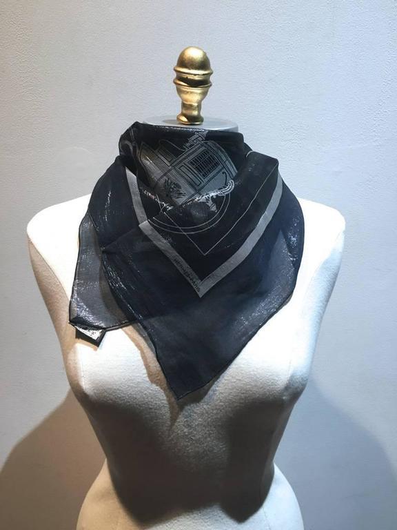 RARE Hermes Navy Blue Silk Shimmery Sheer Lurex Small Scarf Handkercheif 6