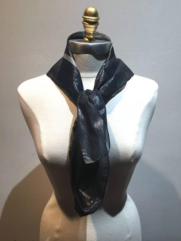 RARE Hermes Navy Blue Silk Shimmery Sheer Lurex Small Scarf Handkercheif 2
