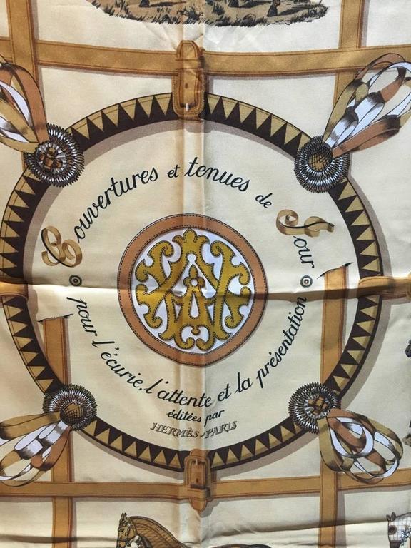 Hermes Couvetures et Tenues Silk Scarf  4