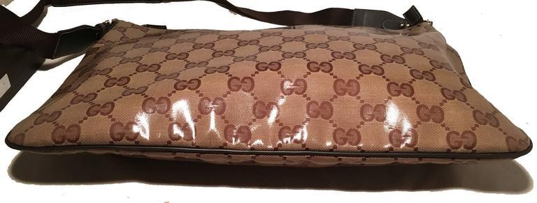 Brown Gucci XL Coated Monogram Canvas Slim Messenger Shoulder Bag For Sale