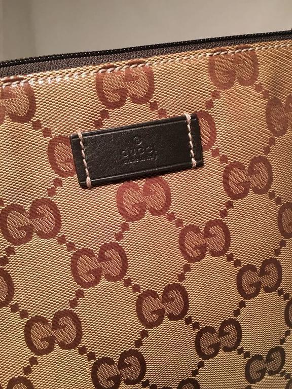 Gucci XL Coated Monogram Canvas Slim Messenger Shoulder Bag For Sale 2