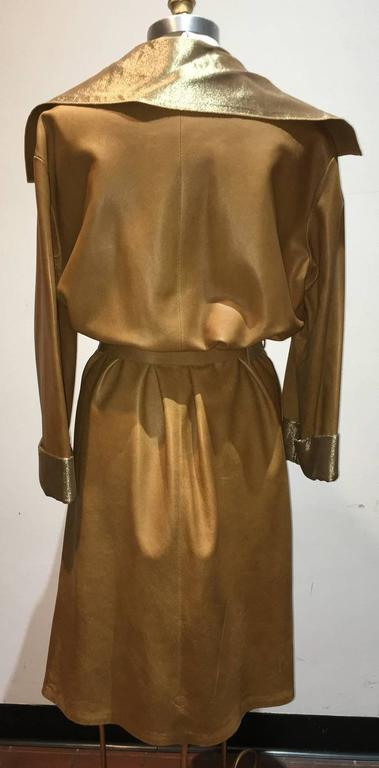 Chanel Tan Leather Gold Lame Lined Long Wrap Trench Coat Size 12 2