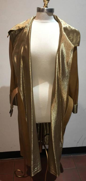 Chanel Tan Leather Gold Lame Lined Long Wrap Trench Coat Size 12 4