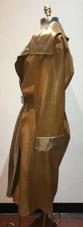 Chanel Tan Leather Gold Lame Lined Long Wrap Trench Coat Size 12 3