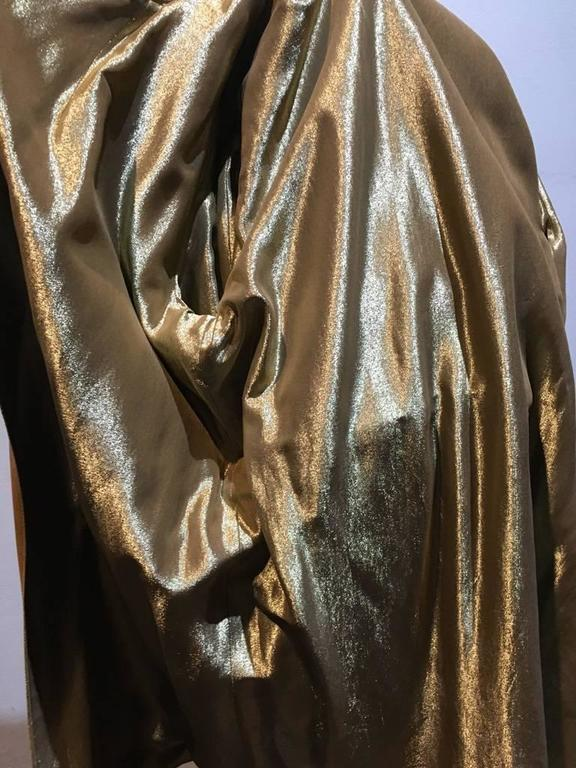 Chanel Tan Leather Gold Lame Lined Long Wrap Trench Coat Size 12 7