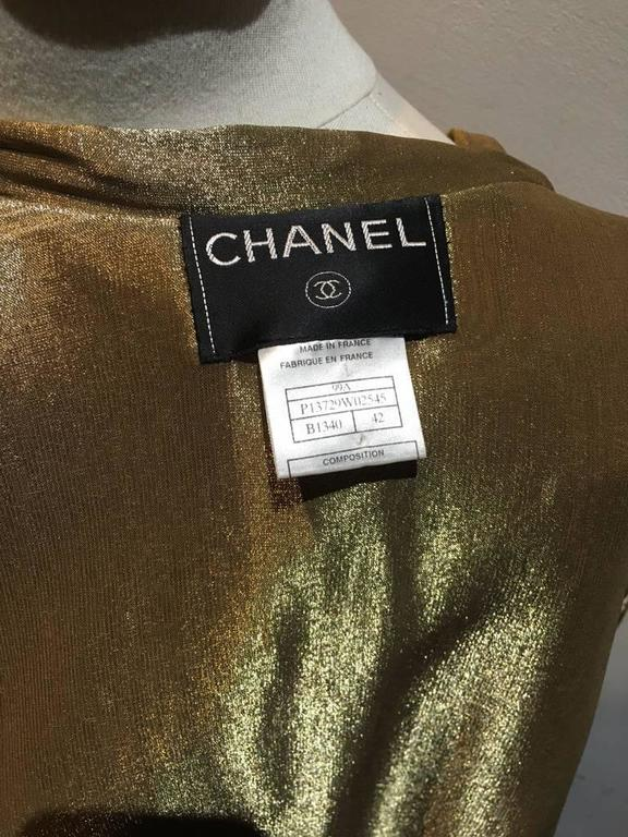 Chanel Tan Leather Gold Lame Lined Long Wrap Trench Coat Size 12 8