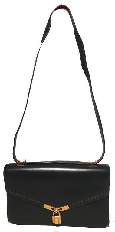 Hermes Vintage Navy Blue Leather Kelly Lock Front Flap Shoulder Bag 2