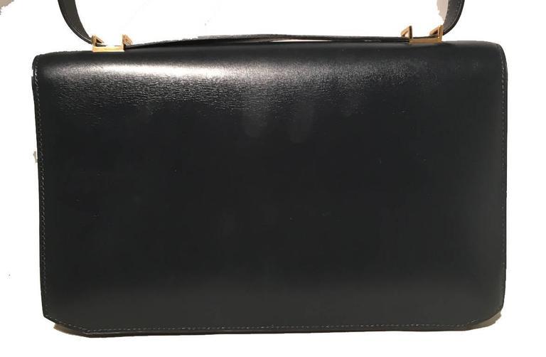 Hermes Vintage Navy Blue Leather Kelly Lock Front Flap Shoulder Bag 3