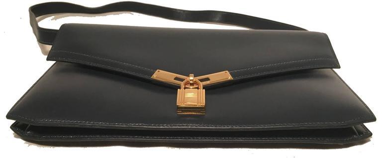 Hermes Vintage Navy Blue Leather Kelly Lock Front Flap Shoulder Bag 6