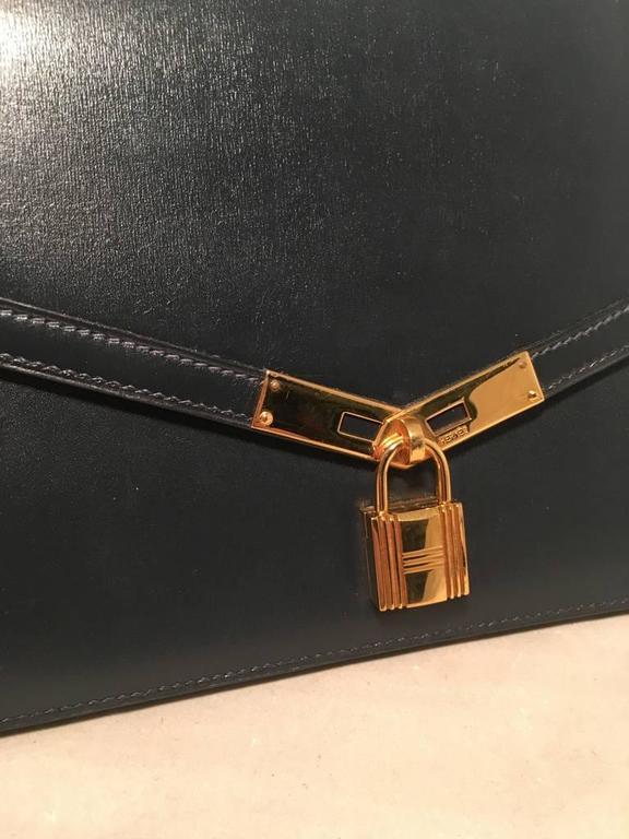 Hermes Vintage Navy Blue Leather Kelly Lock Front Flap Shoulder Bag 5