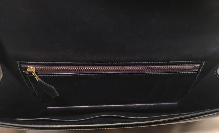 Hermes Vintage Navy Blue Leather Kelly Lock Front Flap Shoulder Bag 7
