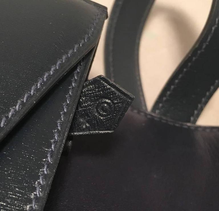 Hermes Vintage Navy Blue Leather Kelly Lock Front Flap Shoulder Bag 8