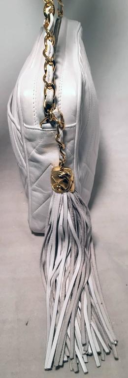 Women's Chanel Vintage White Leather Tassel Detail Shoulder Bag