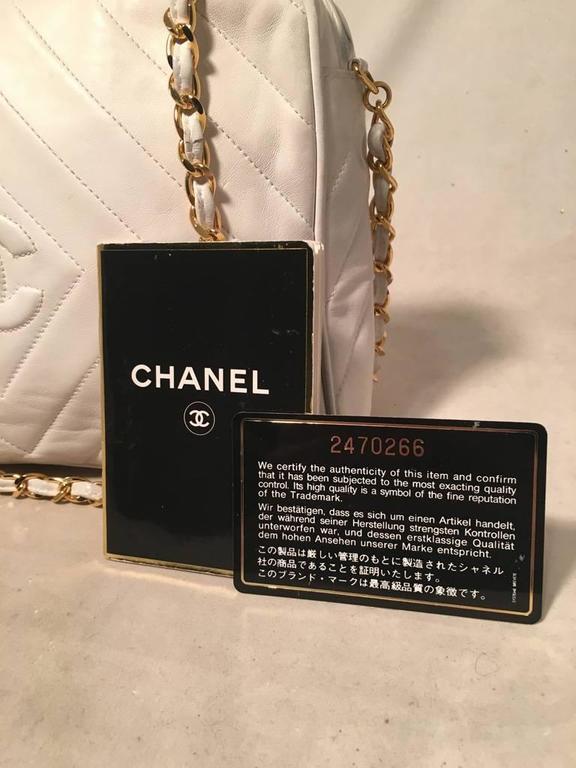 Chanel Vintage White Leather Tassel Detail Shoulder Bag 4