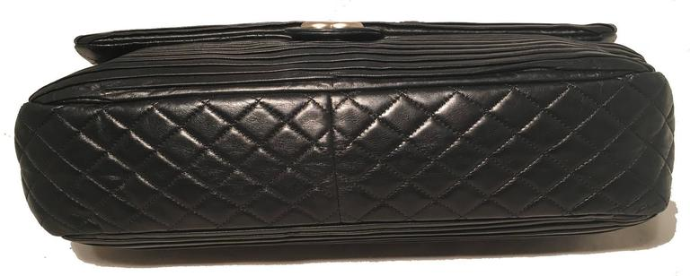 683ce10a49f3 Chanel Black Pleated Leather Classic Flap Shoulder Bag For Sale at ...