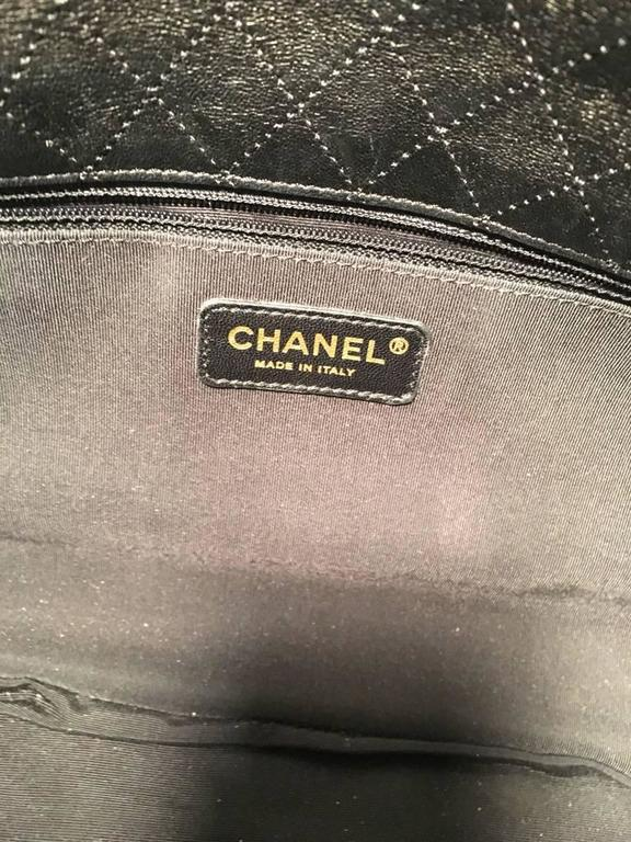 Chanel Black Pleated Leather Classic Flap Shoulder Bag 6