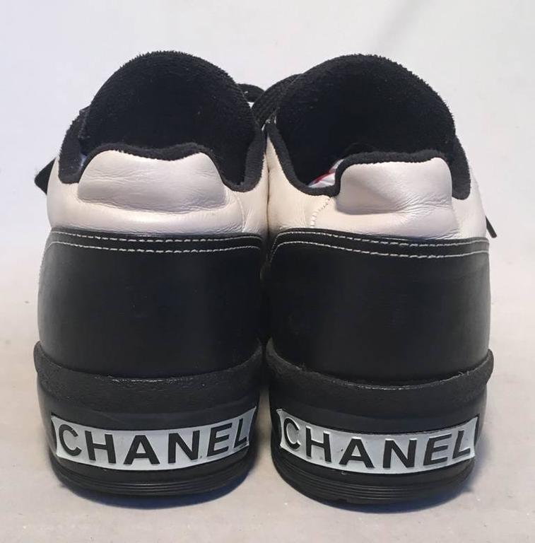 Chanel Black and White Leather Women's Sneakers, Size 40 2
