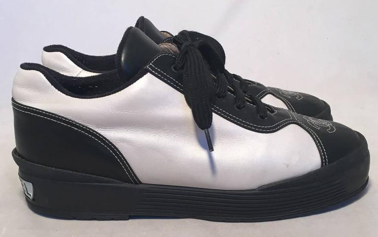 Chanel Black and White Leather Women's Sneakers, Size 40 4