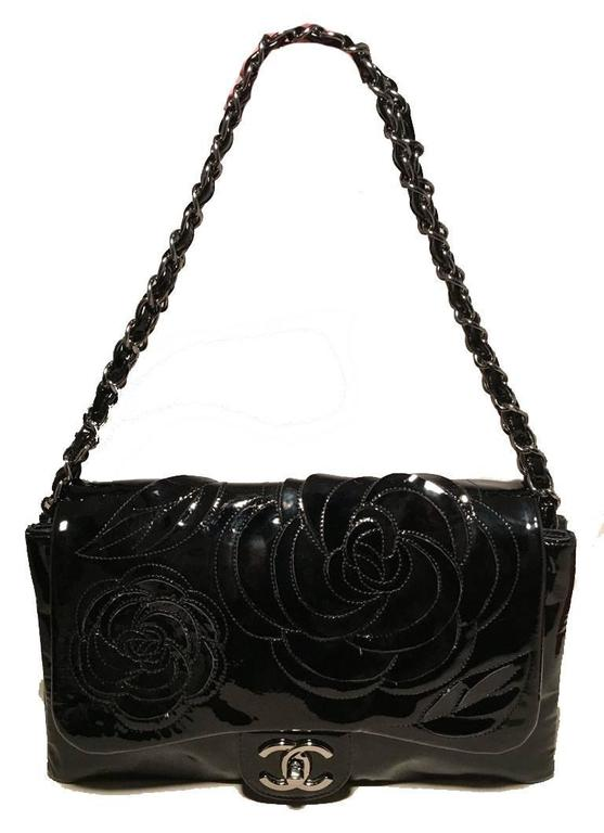 Chanel Black Patent Leather Camellia Flower Classic Flap Shoulder Bag 2