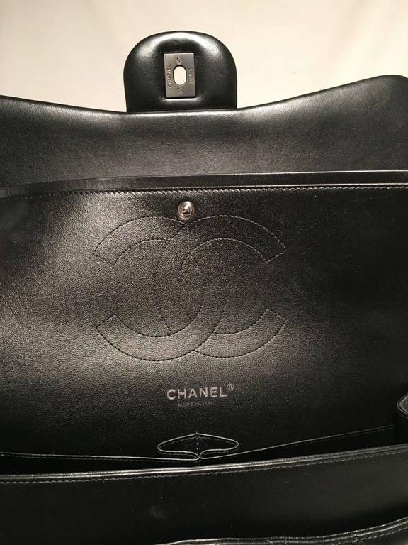 d998462c5d0a RARE Chanel So Black 2.55 Lambskin Jumbo Double Flap Classic Shoulder Bag  For Sale 2