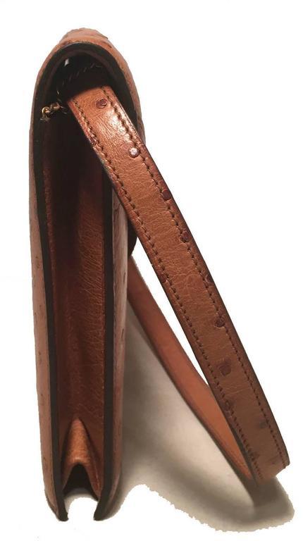 Hermes Vintage Tan Ostrich Leather Shoulder Bag 3