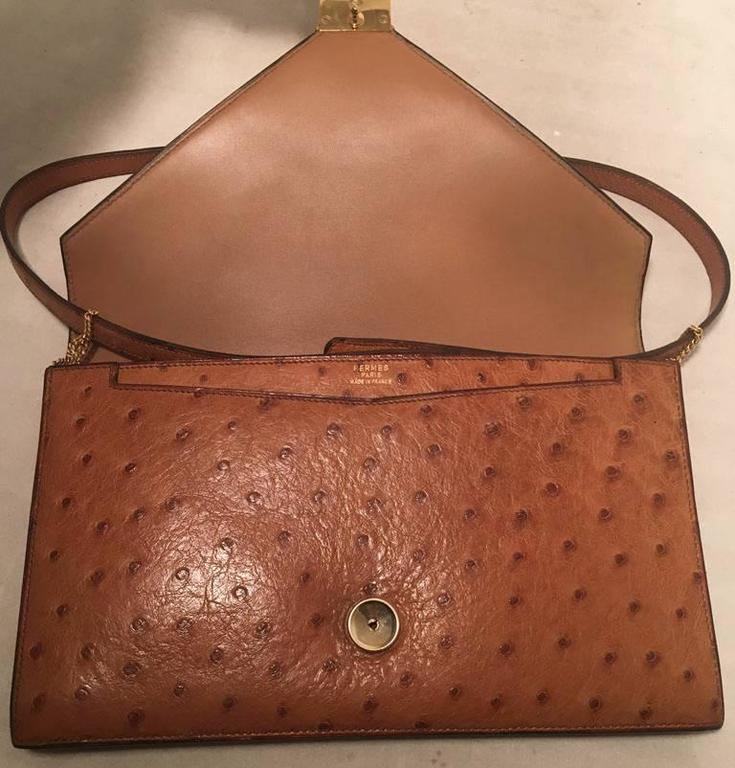 Hermes Vintage Tan Ostrich Leather Shoulder Bag 6