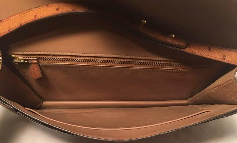 Hermes Vintage Tan Ostrich Leather Shoulder Bag 9
