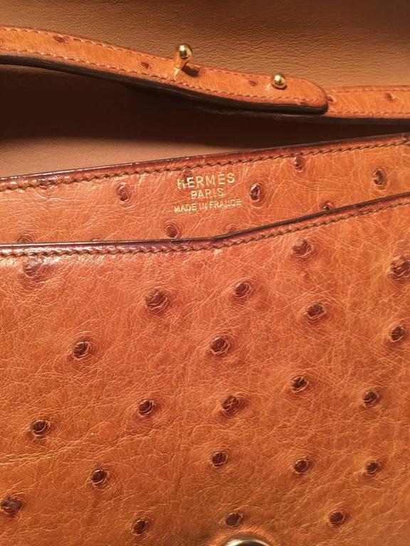 Hermes Vintage Tan Ostrich Leather Shoulder Bag 10