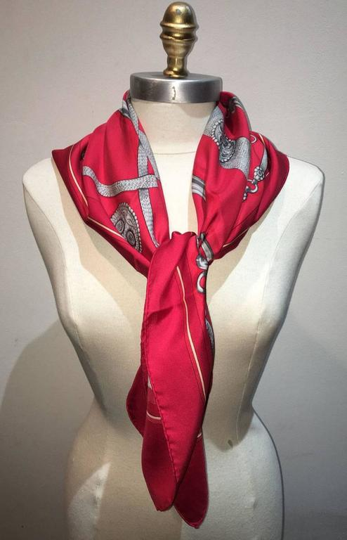 Hermes Vintage Red Gaucho Silk Scarf c1970s In Good Condition For Sale In Philadelphia, PA